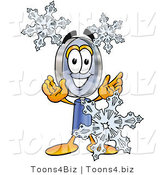 Illustration of a Cartoon Magnifying Glass Mascot with Three Snowflakes in Winter by Toons4Biz