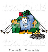 Illustration of a Cartoon Mailbox Camping with a Tent and Fire by Toons4Biz