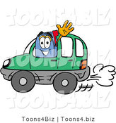 Illustration of a Cartoon Mailbox Driving a Green Car and Waving by Toons4Biz