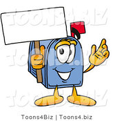 Illustration of a Cartoon Mailbox Holding a Blank Sign by Toons4Biz