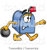 Illustration of a Cartoon Mailbox Holding a Bowling Ball by Toons4Biz