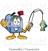 Illustration of a Cartoon Mailbox Holding a Fish on a Fishing Pole by Toons4Biz