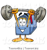 Illustration of a Cartoon Mailbox Holding a Heavy Barbell Above His Head by Toons4Biz