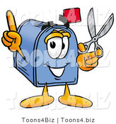 Illustration of a Cartoon Mailbox Holding a Pair of Scissors by Toons4Biz