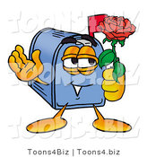 Illustration of a Cartoon Mailbox Holding a Red Rose on Valentines Day by Toons4Biz