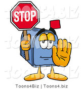 Illustration of a Cartoon Mailbox Holding a Stop Sign by Toons4Biz