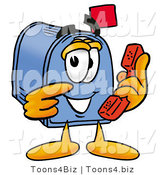 Illustration of a Cartoon Mailbox Holding a Telephone by Toons4Biz