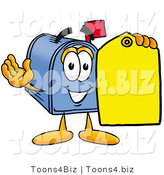 Illustration of a Cartoon Mailbox Holding a Yellow Sales Price Tag by Toons4Biz