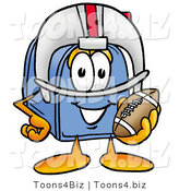 Illustration of a Cartoon Mailbox in a Helmet, Holding a Football by Toons4Biz