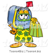 Illustration of a Cartoon Mailbox in Green and Yellow Snorkel Gear by Toons4Biz