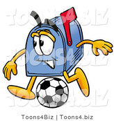 Illustration of a Cartoon Mailbox Kicking a Soccer Ball by Toons4Biz