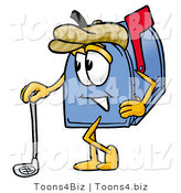 Illustration of a Cartoon Mailbox Leaning on a Golf Club While Golfing by Toons4Biz