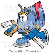 Illustration of a Cartoon Mailbox Playing Ice Hockey by Toons4Biz