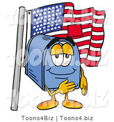 Illustration of a Cartoon Mailbox Pledging Allegiance to an American Flag by Toons4Biz