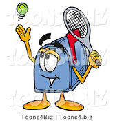 Illustration of a Cartoon Mailbox Preparing to Hit a Tennis Ball by Toons4Biz