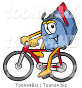 Illustration of a Cartoon Mailbox Riding a Bicycle by Toons4Biz