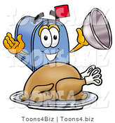 Illustration of a Cartoon Mailbox Serving a Thanksgiving Turkey on a Platter by Toons4Biz