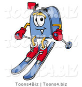 Illustration of a Cartoon Mailbox Skiing Downhill by Toons4Biz