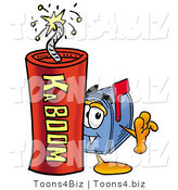 Illustration of a Cartoon Mailbox Standing with a Lit Stick of Dynamite by Toons4Biz