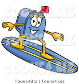 Illustration of a Cartoon Mailbox Surfing on a Blue and Yellow Surfboard by Toons4Biz