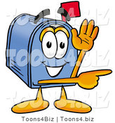 Illustration of a Cartoon Mailbox Waving and Pointing by Toons4Biz