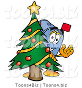 Illustration of a Cartoon Mailbox Waving and Standing by a Decorated Christmas Tree by Toons4Biz