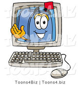 Illustration of a Cartoon Mailbox Waving from Inside a Computer Screen by Toons4Biz