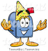 Illustration of a Cartoon Mailbox Wearing a Birthday Party Hat by Toons4Biz