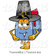 Illustration of a Cartoon Mailbox Wearing a Pilgrim Hat on Thanksgiving by Toons4Biz