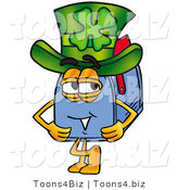 Illustration of a Cartoon Mailbox Wearing a Saint Patricks Day Hat with a Clover on It by Toons4Biz