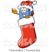 Illustration of a Cartoon Mailbox Wearing a Santa Hat Inside a Red Christmas Stocking by Toons4Biz