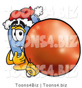 Illustration of a Cartoon Mailbox Wearing a Santa Hat, Standing with a Christmas Bauble by Toons4Biz
