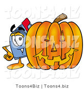 Illustration of a Cartoon Mailbox with a Carved Halloween Pumpkin by Toons4Biz