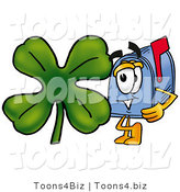 Illustration of a Cartoon Mailbox with a Green Four Leaf Clover on St Paddy's or St Patricks Day by Toons4Biz