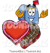 Illustration of a Cartoon Mailbox with an Open Box of Valentines Day Chocolate Candies by Toons4Biz