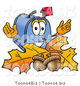 Illustration of a Cartoon Mailbox with Autumn Leaves and Acorns in the Fall by Toons4Biz