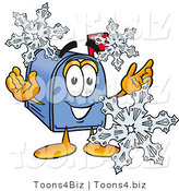 Illustration of a Cartoon Mailbox with Three Snowflakes in Winter by Toons4Biz