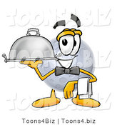 Illustration of a Cartoon Moon Mascot Dressed As a Waiter and Holding a Serving Platter by Toons4Biz