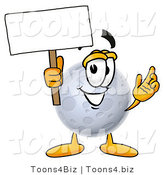 Illustration of a Cartoon Moon Mascot Holding a Blank Sign by Toons4Biz