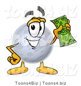 Illustration of a Cartoon Moon Mascot Holding a Dollar Bill by Toons4Biz
