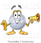 Illustration of a Cartoon Moon Mascot Holding a Megaphone by Toons4Biz