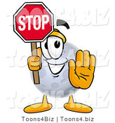 Illustration of a Cartoon Moon Mascot Holding a Stop Sign by Toons4Biz