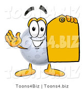 Illustration of a Cartoon Moon Mascot Holding a Yellow Sales Price Tag by Toons4Biz