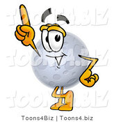 Illustration of a Cartoon Moon Mascot Pointing Upwards by Toons4Biz