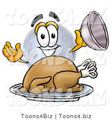 Illustration of a Cartoon Moon Mascot Serving a Thanksgiving Turkey on a Platter by Toons4Biz