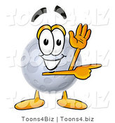Illustration of a Cartoon Moon Mascot Waving and Pointing by Toons4Biz