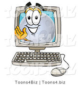 Illustration of a Cartoon Moon Mascot Waving from Inside a Computer Screen by Toons4Biz