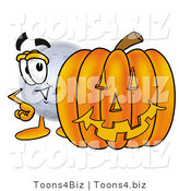 Illustration of a Cartoon Moon Mascot with a Carved Halloween Pumpkin by Toons4Biz