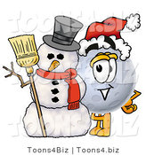 Illustration of a Cartoon Moon Mascot with a Snowman on Christmas by Toons4Biz