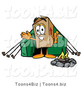 Illustration of a Cartoon Packing Box Mascot Camping with a Tent and Fire by Toons4Biz